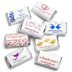Personalized Metallic Hershey's Miniatures - Wedding or Rehearsal Dinner Favours? $17.99 per 100, free personalization | The Knot