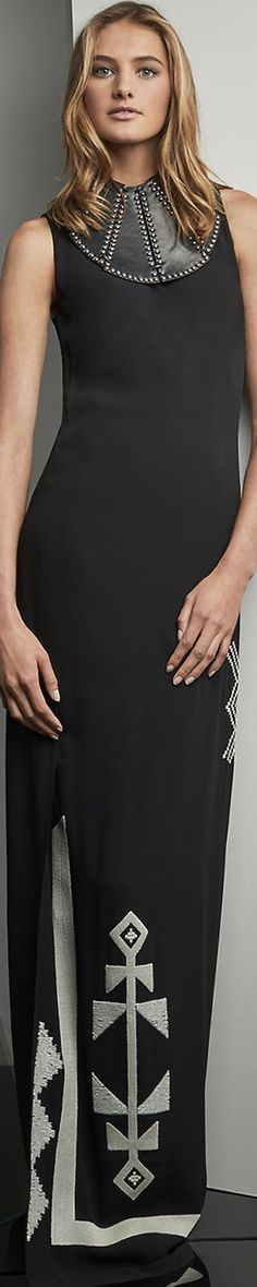 Ralph Lauren Kaylyn Embroidered Crepe Gown