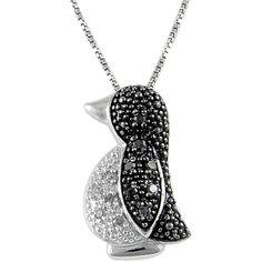 Jewel Exclusive Sterling Silver Black & White Diamond Penguin Pendant ($30) ❤ liked on Polyvore