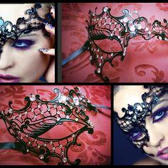 2014 Venetian Filigree Laser Cut Metal Masquerade Ball Phantom Eye Mask w/ Crystal Rhinestones Embellishment
