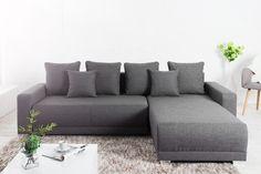 Veľká rohová sedačka s lôžkom v šedej látke. Sofas, Sofa Couch, Furniture, Home Decor, Products, Environment, Small Cushions, Repurposed, Ottoman Bench