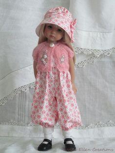 """13"""" Effner Little Darling BJD pink & white rompers set OOAK handmade set by JEC. Ends 8/3/14. SOLD for $202.50."""