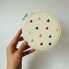 Hearts Embroidery Hoop mini hearts on linen valentine's by oktak