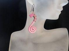 Pink earrings Spiral earrings Dangle earrings Unusual earrings Trendy earrings Magic earrings Art earrings Feminine earrings Summer earrings