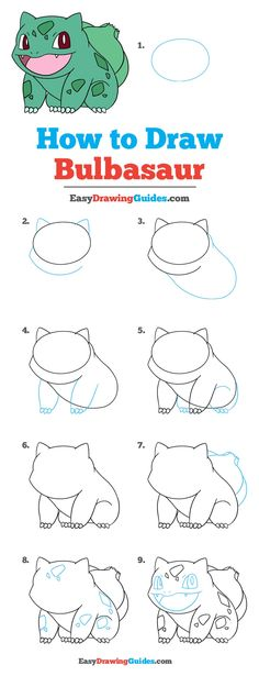 How to Draw Bulbasaur Pokémon - Really Easy Drawing Tutorial - - Learn to draw Bulbasaur Pokémon. This step-by-step tutorial makes it easy. Kids and beginners alike can now draw a great looking Bulbasaur from Pokémon. Easy Drawing Tutorial, Drawing Tutorials Online, Drawing Tutorials For Beginners, Anime Drawing Tutorials, Online Drawing, Cute Easy Drawings, Easy People Drawings, Drawing People, Easy Pokemon Drawings