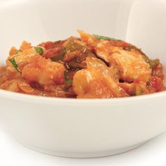 Bacalao ajoarriero Shrimp, Potatoes, Chicken, Meat, Vegetables, Casserole Recipes, Onion, Cod Fish, Pots