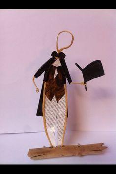 sculptures en papier, fil kraft armé et bois flotté
