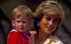 Prince Harry with his mother Diana, Princess of Wales in 1987