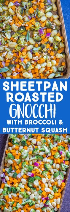 This Sheetpan Roasted Gnocchi is crispy and cooked perfectly!  It's roasted along side butternut squash, broccoli, red onion and dressed with sage butter sauce! Perfect for a vegan sheetpan dinner!  #gnocchi #roastedgnocchi #sheetpandinner #vegandinner Vegan Breakfast Recipes, Good Healthy Recipes, Vegetarian Recipes, Dinner Recipes, Cooking Recipes, Gnocchi, Sage Butter Sauce, Roasting Pan, Vegan Dinners