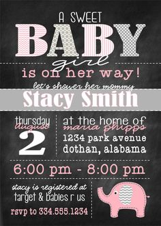 This set up is cute! -- Girl Baby Shower Pink and Gray Elephant, with chevron and chalkboard Digital Invitation Grey Baby Shower, Baby Shower Fun, Baby Shower Gender Reveal, Girl Shower, Baby Shower Themes, Shower Ideas, Elephant Theme, Grey Elephant, Baby Shower Invites For Girl