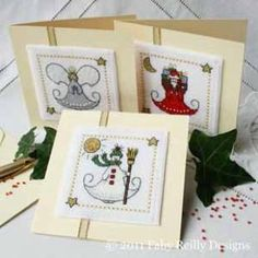 <b>Petite Faby - Three Little Christmas cards</b><br>cross stitch pattern<br>by <b>Faby Reilly Designs</b>