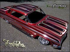 Artwork by Freeflow scale Impala 64 Impala Lowrider, Lowrider Model Cars, Car Paint Jobs, Model Cars Building, Old Hot Rods, Plastic Model Cars, Cadillac Fleetwood, Buick Regal, Civil War Photos