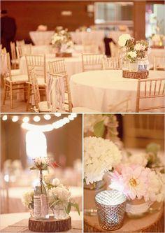 shabby chic wedding decor...do in orange and blue
