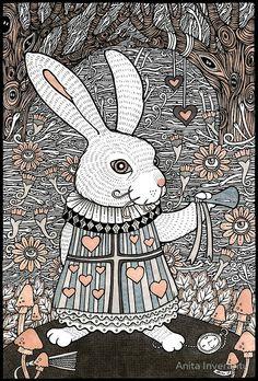 The White Rabbit Белый Кролик (англ. White Rabbit) — говорящее животное с розовыми глазами, одетое в жилетку и лайковые перчатки. Он носит часы в кармане и живёт в «чистеньком домике» с надписью: «Б. Кролик»[К 3]. В первых главах Кролик куда-то опаздывает, в четвёртой пытается попасть в свой дом, а в финале произведения сопровождает королевскую чету и выступает в качестве глашатая.