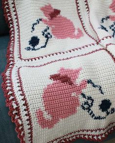 """Design By: Maggie Weldon Skill Level: Easy Size: 47"""" wide x 62"""" long Pink Afghan Meterials: Worsted Weight Yarn, 48 ozs (3,168 yds) Soft White (MC); 6 ozs (360 yds) Lt. Rose Pink (B); 4 ozs (230 yds)"""