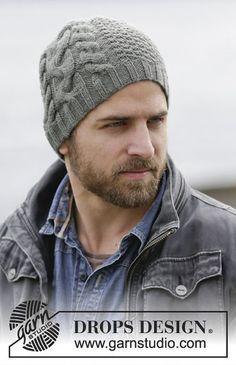 Finnley s Hat - Cappello DROPS lavorato ai ferri da uomo con trecce e punto  fantasia in 549174e5d566