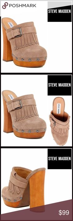 """STEVE MADDEN LEATHER PLATFORM MULE STEVE MADDEN LEATHER PLATFORM MULE SIZING: True to size   COLOR: TAUPE SUEDE  * An amazing style!  * Genuine suede leather * Almond toe & buckle ankle strap accent  * Fringe & metallic stud detail * Lightly padded insole w/logo * High quality & well made  * Approx 5.25"""" chunky wood high heel w/1"""" platform  MATERIAL Genuine Leather Suede upper, manmade sole  ❌NO TRADES❌ ✅BUNDLE DISCOUNTS ✅ OFFERS CONSIDERED (Via the offer button only)   SEARCH WORDS # clog…"""