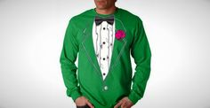 A green tuxedo shirt? 100% pinch proof | St. Patrick's Day