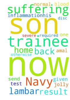 My son who is a trainee in Navy now suffering with -  My son who is a trainee in Navy now suffering with severe lambar disc inflammation.His name name is Amal Jolly. NOW ONE BLOOD TEST HE GIVEN IN THAT NORMAL RESULT  IS REQUIRED . OTHERWISE THEY SEND HIM BACK TO HOME. PLEASE PLEASE....... PRAY.  Posted at: https://prayerrequest.com/t/7jF #pray #prayer #request #prayerrequest