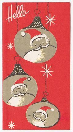 Vintage Greeting Card Christmas Santa Claus Ornaments Hello Mid-Century