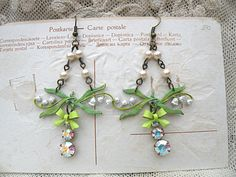 muguet earrings lily of the valley spring by lilyofthevally