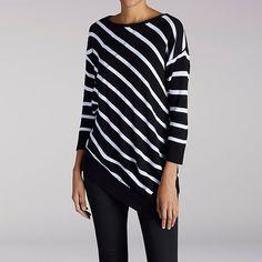 Women's 3/4 Sleeve Asymetrical Hem Stripe Top (Size XL)