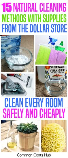 You can save hundreds of dollars per year and rid your house of chemicals at the same time. Here are 15 ways to clean your home with safe natural ingredients from the Dollar Store. #savemoney | natural cleaners | green cleaners | home hacks | home tips | DIY.