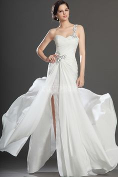A-line Chiffon One Shoulder Natural Waist Long Prom Dress