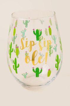 Sip Sip Ole Cactus Stemless Wine Glass