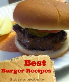 Best Burger Recipes  http://www.structureinanunstructuredlife.com/2014/05/18/best-burger-recipes/?utm_campaign=coschedule&utm_source=pinterest&utm_medium=Beth%20At%20Structure%20(Yummy!)&utm_content=Best%20Burger%20Recipes