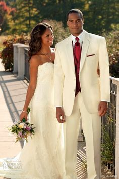 Cream Tuxedo With A Pink Tie And Wedding Dress Somethin
