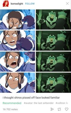 The people who drew Voltron: Legendary Defenders did draw Avatar: The Last Airbender so it makes sense they would have similar facial expressions
