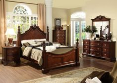 Bedroom Sets Cherry Wood 5 pc princess anne ii collection cherry brown wood finish queen 4