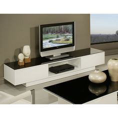 The Kitano television stand is a modern and stylish design that will add an  elegant flair Modern White Low Plasma TV Stand With 4 open Compartments Tv
