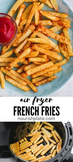 These crispy and flavorful Air Fryer French Fries are easy and quick to make! They are low in calories and are made using little oil. Side Dishes For Bbq, Vegetable Side Dishes, Side Dish Recipes, Vegetable Recipes, Vegetarian Recipes, Cooking Recipes, Savoury Recipes, Skillet Recipes, Pizza Recipes