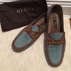 Gucci Men's Blue Roos 1953 Denim Horsebit Loafer Men's Gucci Blue Roos 1953 Denim and brown Loafer. Comes with dust bag. Worn once. In great condition. Size 10. True to size. I have them to my boyfriend as a gift, and he wore them, but they were too big for his 9.5 foot. Small black mark on outside back side of the right loafer (see 3rd pic). Gucci Shoes Flats & Loafers