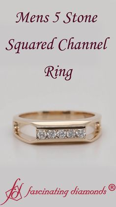 This square diamond ring is illuminated with 5 brilliant round cut diamonds placed firmly and successively in channel setting. This wedding ring for men is absolutely fantastic and will thrill you to pieces. Mens Ring Designs, Gold Ring Designs, Mens Gold Jewelry, Mens Silver Rings, Mens Diamond Wedding Bands, Gold Wedding Rings, Gents Gold Ring, Men's Jewelry Rings, Guy Jewelry