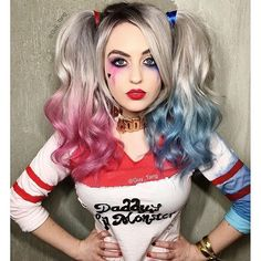 """Repost from @guy_tang """"Harley Quinn"""" inspired Hair from the upcoming movie #SuicideSquad featuring @suprmaryface all @kenraprofessional metallics and Creatives.  #skwad #harleyquinn #MetallicObsession #KenraColor"""