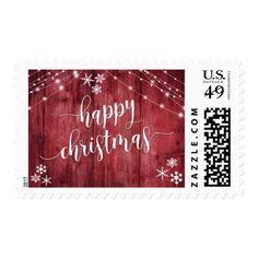 Happy Christmas Rustic Wood w/ Snowflakes & Lights Postage - christmas stamps custom merry xmas postage diy customize