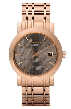 i die...Burberry 'Classic' Rose Gold Bracelet Watch, $495.00