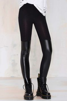 PU Leather Spliced Skinny Legging