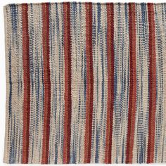 JUBILEE JUTE RUG--Rugged jute fibers handwoven in bright stripes of red, blue and cream are fresh and summery in cottages, cabins and covered porches. Imported. Exclusive. Available in four sizes