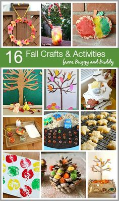 16 Fall Themed Crafts and Activities for Kids including an autumn wreath, fall tree art, process art, sensory play, and more! ~ BuggyandBuddy.com