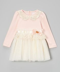 Another great find on #zulily! Pink & White Pearl A-Line Dress - Toddler & Girls by Blossom Couture #zulilyfinds