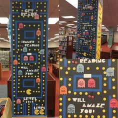 My PacMan-tastic bulletin board to advertise for Summer Reading The ghosts… Vbs Themes, Game Themes, School Themes, Teen Bulletin Boards, Teen Library, Library Ideas, Classroom Jobs, Classroom Decor, Reading 2016