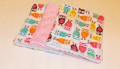 Baby Burp Cloths/Minky  Pink Owl & Hearts by DarlenesNeedlesnPins