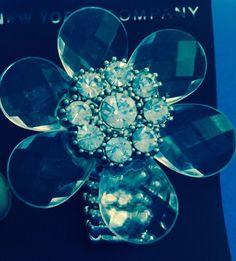 Crystal Clear Flower & Rhinestone Fashion Stretch Ring  New York & Company Nwt #NewYorkCompany #Statement