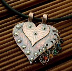 Genieteter Herzanhänger, Kupfer, Valentinstag von Galadryl Schmuckdesign - Handgefertigter Silber- und Kupfer Schmuck auf DaWanda.com