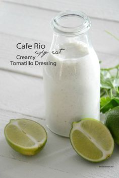 Creamy Tomatillo Ranch Dressing Recipe - Copy cat cafe rio. The best salad dressing ever!