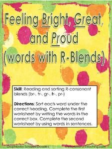 Feeling Bright, Green and Proud (words with R-Blends) Worksheet